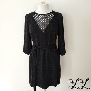 Noir Dress Black Purple Pattern Lace Zip Belt Knee